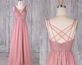Bridesmaid Dress Dusty Rose Chiffon Dress,Wedding Dress,Ruched V Neck Prom Dress,A-line Maxi Dress,Criss Cross Illusion Party Dress(L126E)