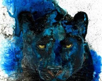 Black Panther: safari nursery wall art totem cat lover gift kids room wall art nursery decor animal art Carolina panthers Ellen Brenneman