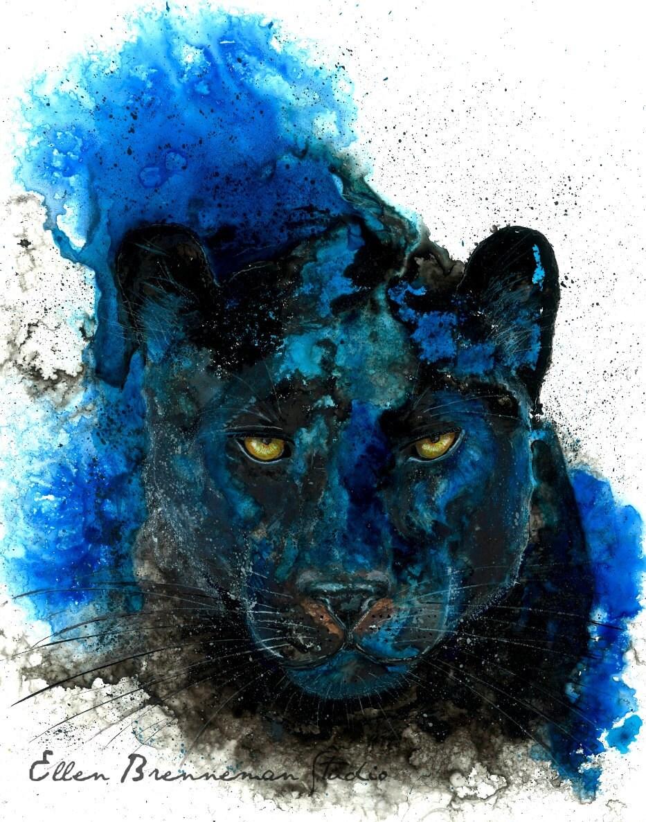 Black Panther Kunstdruck von Ellen Brenneman: Totem Tier Kunst
