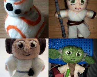 Felted star wars characters - Yoda, bb8, princess Leia,Rey