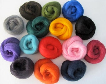 Design Your Own Wool Sampler - 2oz - Pick 8 Colors of Dyed Corriedale (.25oz each)