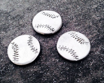 Pewter Stamping Blanks 20mm Baseball Blank - Handmade Metal Blanks - Aluminum and Silver Alternative Jewelry Stamping Blanks   (M147D)