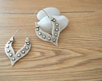 Matte silver tribal dangling teardrop earrings, silver hollow teardrop hoop earrings, Silver Ornate Hoop Drop earrings, gypsy ethnic earring