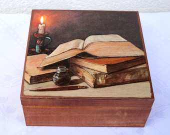 treasure chest, wooden box , wooden keepsake box, vintage style, gift for him, gift for teacher