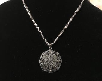 Gun metal rhinestone pendant, ribbon chain necklace