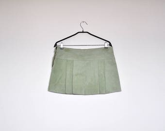 Vintage Mint Green Suede Leather Pleated Mini Skirt