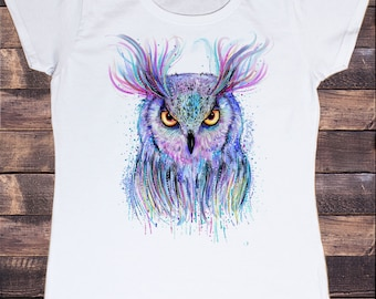Women's Tee Colourful Owl detailed splatter icon - Novelty Print TS1180