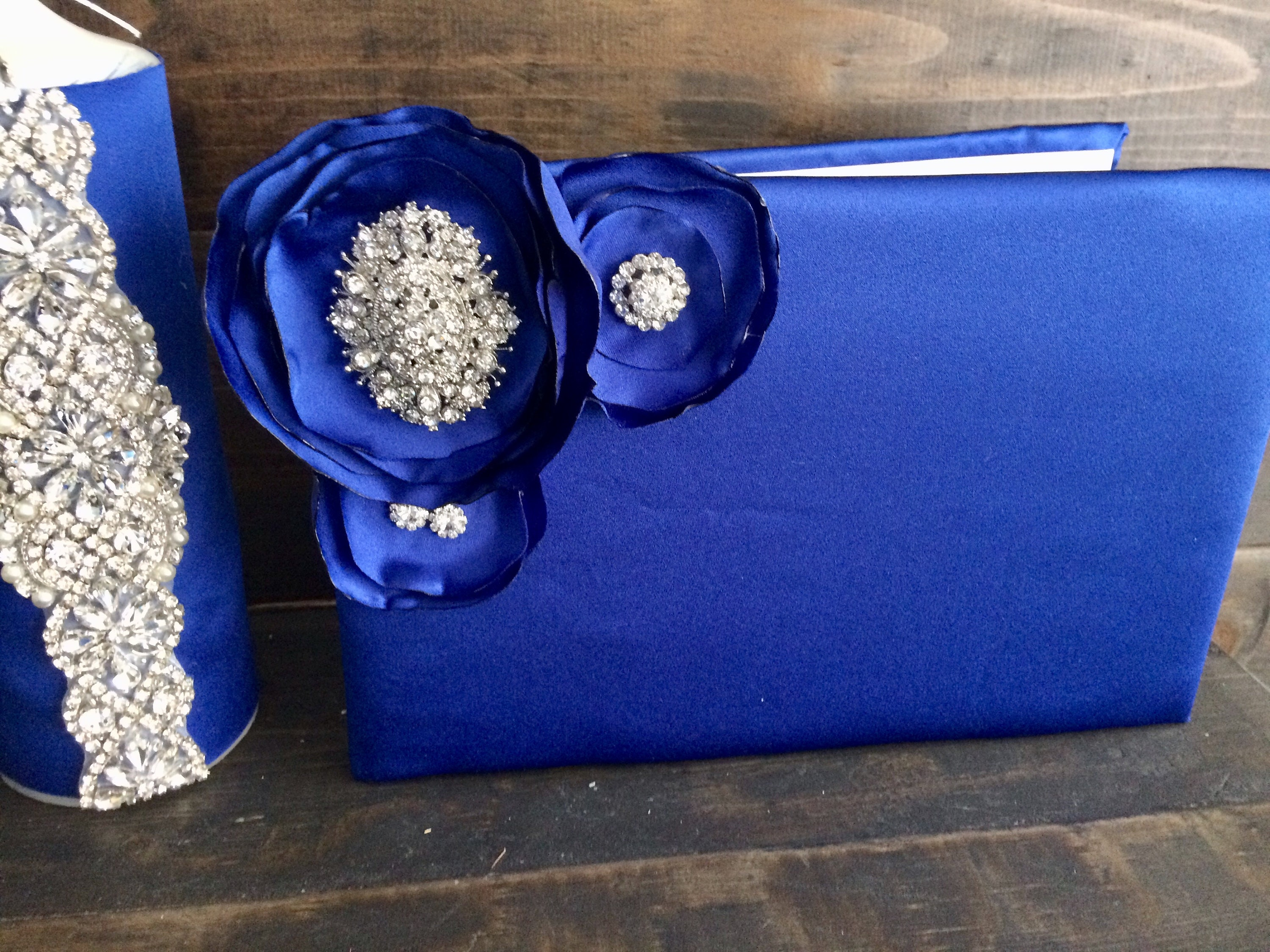 Royal Blue Guest Signature Book With Royal Blue Flowers And
