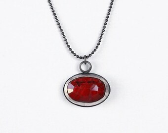 Ruby Pendant Necklace, Oxidized 925 Silver, Oval Ruby Pendant, Oxidized Necklace, July Birthstone Necklace, Ruby Jewelry, July Birthday Gift