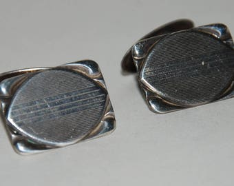 Early 20th Century Sterling Silver Cuff Links -- Free Shipping!