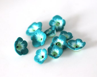 Flower Beads, Polymer Clay Beads, Turquoise and Mint 10 Pieces
