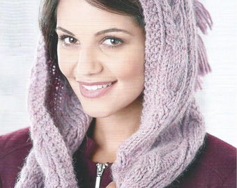 Instant Download - PDF- Pretty Hooded Scarf Knitting Pattern (KA16)