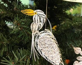 Assateague Island Quilled Great White Egret Ornament