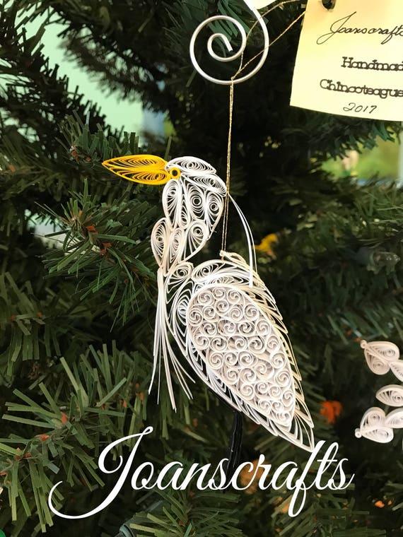 Assateague Island Quilled Great White Egret Ornament