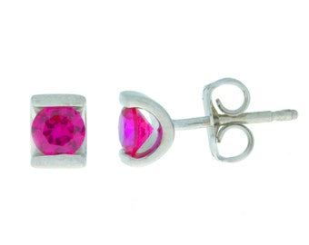 0.50 Ct Ruby Stud Earrings .925 Sterling Silver Rhodium Finish