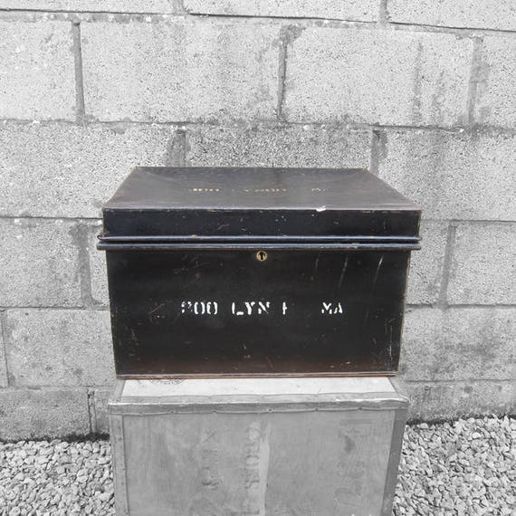 Metal Deeds Box Industrial 1920s Black Trunk Chest Storage