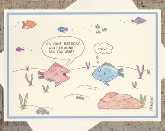 Funny Birthday Card, Funny Friend Birthday Card, Drinking Card, Sarcastic Birthday Card, Ocean Card, Birthday Card, Nautical Card
