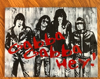 "Handmade Ramones ""Gabba Gabba Hey"" Wood Wall Art"
