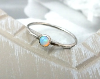 Sterling Silver Opal Stacking Ring, Opal Gemstone Ring, Silver Dainty Ring, Simple Silver Ring, Delicate Silver Ring