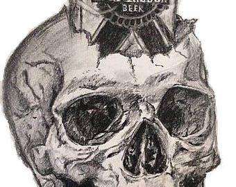 Pabst Skull Head-Framed Print