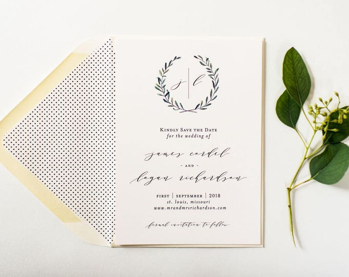 james greenery save the date invitation  //  printed invite / wreath rustic eucalyptus greenery custom modern calligraphy invite