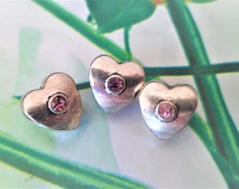 2 Heart Rhinestone pink 9 x 10 mm beads European large hole 5 mm to Bracelets Charms for Bracelets Charms