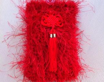 pouch case red fur yarn