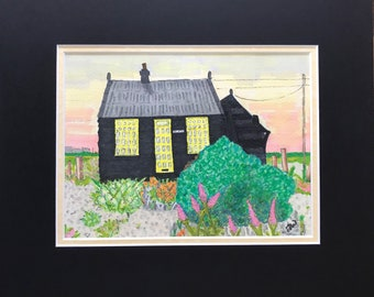 Prospect Cottage Original Artwork Promarker Pens Mounted Framed Derek Jarmans Cottage Dungeness Kent sunset