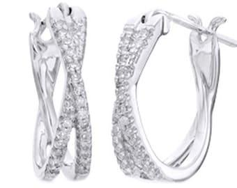 White Natural Diamond Criss-Cross Hoop Earrings In 10k Solid Gold (1/10 Cttw)
