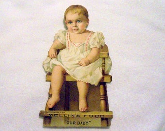 Mellin's Food Infant Food Die Cut Stand Up Victorian Trade Card Advertising