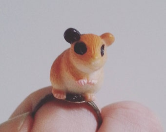 I LOVE Hamsters, hamster ring, miniature hamster, resin hamster, pet ring, fun, by NewellsJewels on etsy