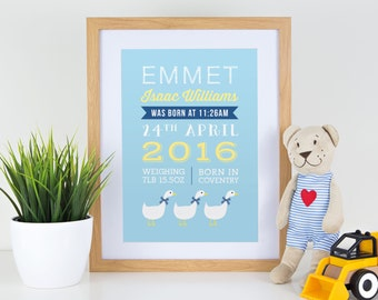 Personalised new baby boy blue birth announcement print with white ducks geese for gift, nursery with or without frame