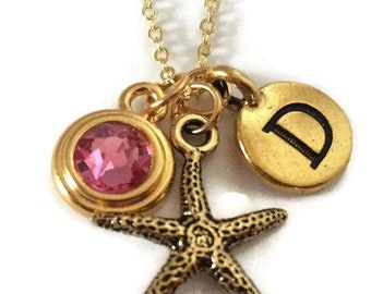Personalized Gold Starfish Necklace, Customizable with Initial and Choice of Swarovski Birthstone