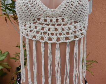 Crochet beach halter top in size small/Medium with fringes.