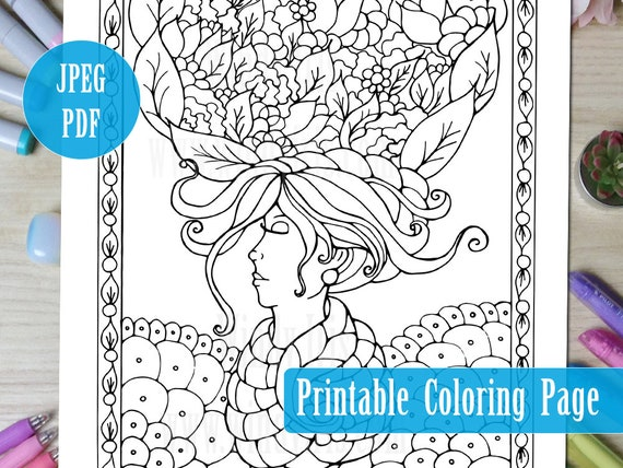 Spring Queen Printable Coloring Page PDF Floral Illustration Line Art To Color Digital Download Pages By Windy Iris From WindyIris On Etsy Studio