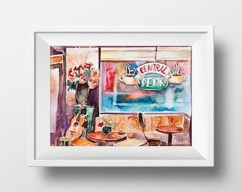 Wall Art Friends TV Show Central Perk Cafe Interior Watercolor Print,Central Perk,Monica Chandler Ross Rachel Joey Phoebe,Printable,Poster