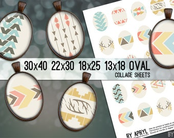 Tribal Geometric Digital Collage Sheet Oval 30x40 22x30 18x25 13x18  Oval Digital Collage Images for Glass Resin Pendants Cameo