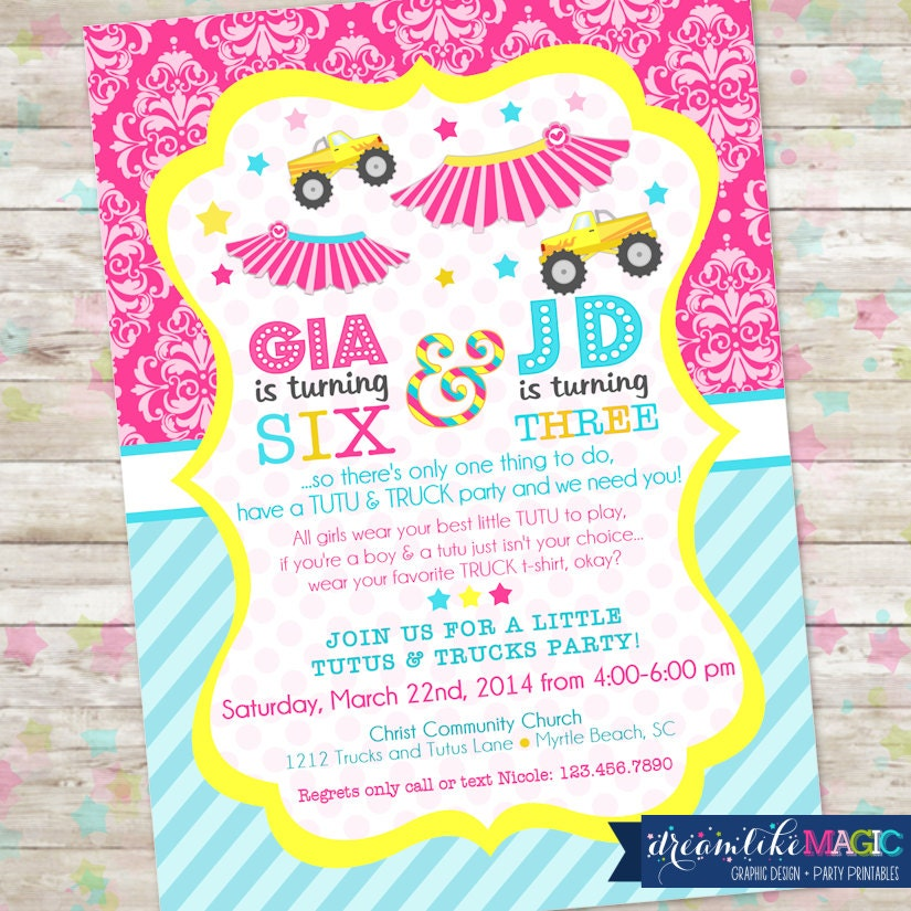 Tutus and Trucks Birthday Printable Party Invitation Joint