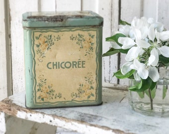 A beautiful weathered and worn French canister Chicoree tin
