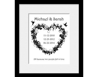 Floral Heart Family Dates Print. Wedding Gift and Enagagement Wall Art Print. Bridal Shower, Anniversary