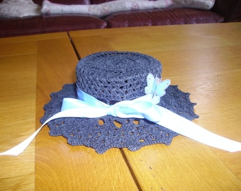 small black ribbon hat with satin