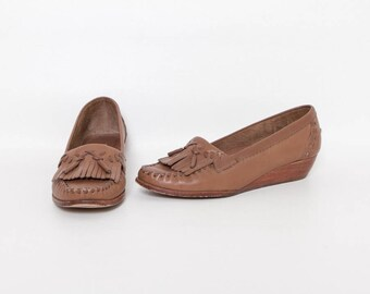 maple leather wedges   vintage 80s shoes with stacked heel by Balloons