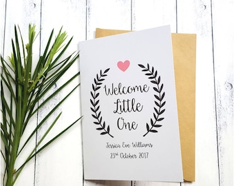 Personalised New Baby Card | Welcome Little One Card | Congratulations Card