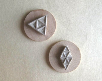 Geometry / Triangles - Hand-Carved Rubber Stamp Set
