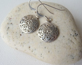 Sterling  Silver Filigree Dangle Earrings Delicate Silver Shield Earrings 925 Retro Filigree 925 Silver Dangle,Sterling Pierced Earrings 925
