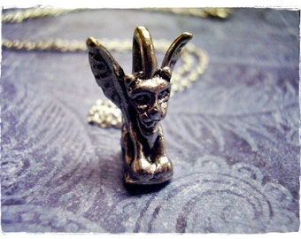 Silver Gargoyle Statue Necklace - Antique Pewter Gargoyle Statue Charm on a Delicate Silver Plated Cable Chain or Charm Only