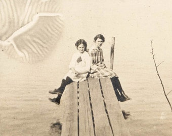 vintage photo 1912 Little Girls Dock of Lake Unusual PRinting Impression Abstract