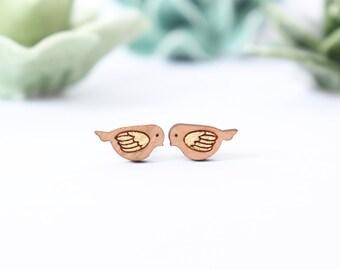 Birds - small golden earstuds