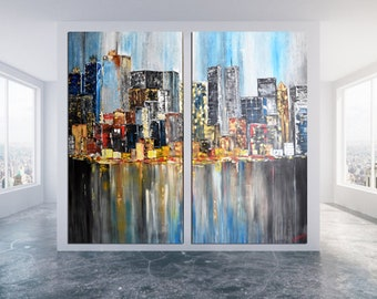"New York Horizon,Manhattan,New York Painting,Huge PRINT,Brooklyn Art Modern Acrylic Downtown Painting by Kathleen Artist 70""x76"" Inches"