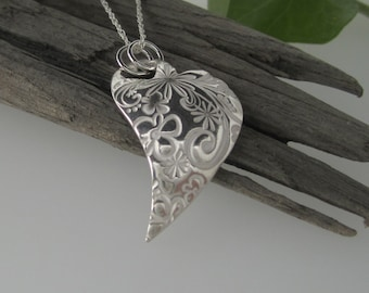 Heart pendant etsy large heart pendant with flower design in fine silver solid silver handmade necklace heart aloadofball Gallery